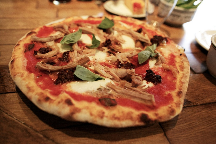 Pizza from Lardo's wood-fired oven