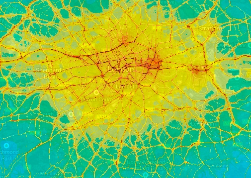 Map of air quality in London. If you want to live in the centre better hold your breath!